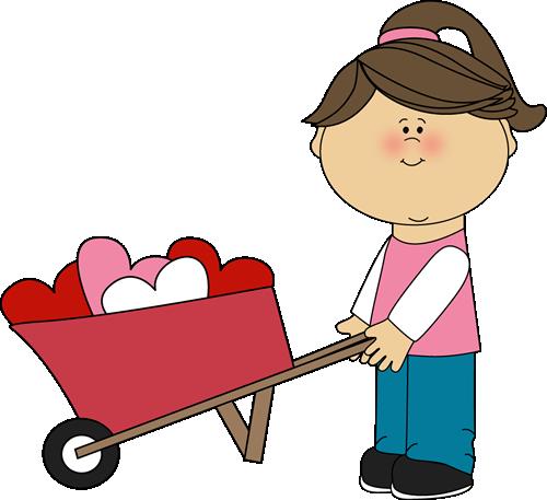 Girl Pushing Wheelbarrow of Hearts