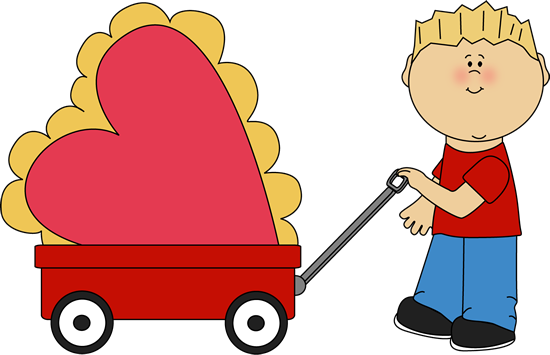 Boy Pulling Valentine in a Wagon