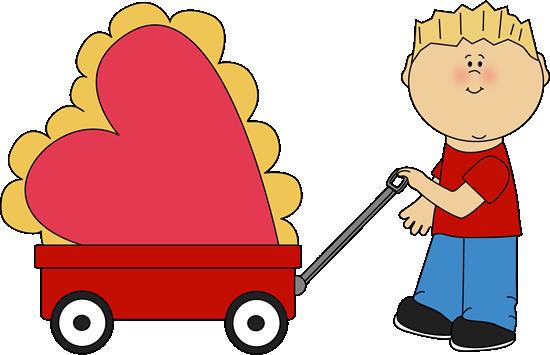 Boy Pulling Valentine in a Wagon