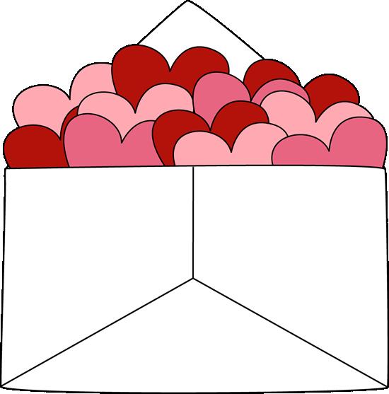 Envelope of Valentine Hearts Clip Art - Envelope of ...