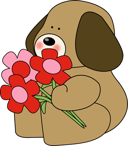 Valentine's Day Dog with Flowers