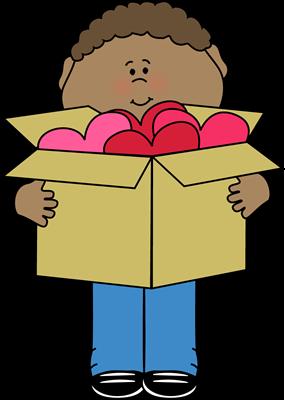 Boy with Valentine Heart Clip Art