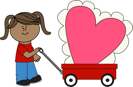 Girl With Big Valentine Clip Art