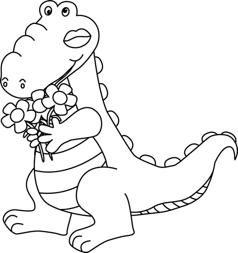Black and White Valentine's Day Alligator