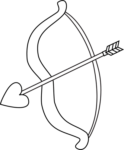 Black and White Valentine's Day Bow and Arrow