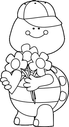 Black and White Valentine's Day Boy Turtle