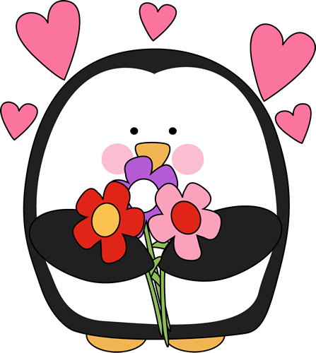 Valentine's Day Penguin with Flowers