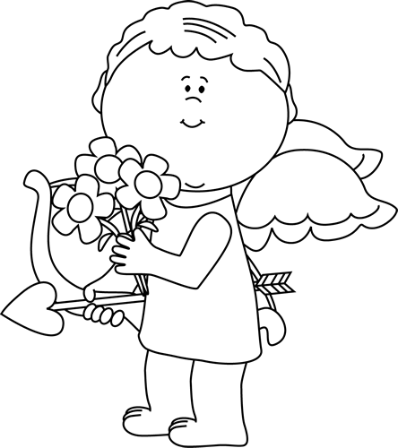 Black and White Valentine's Day Cupid with Flowers