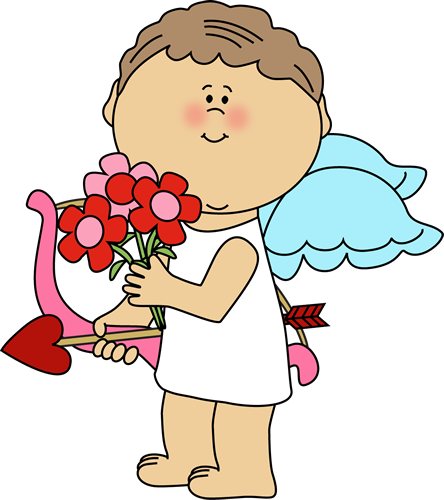 Valentine's Day Cupid with Flowers