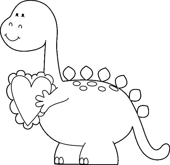 Black and White Valentine's Day Dinosaur