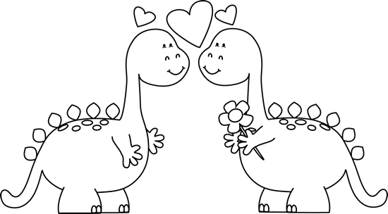 Black and White Dinosaurs in Love
