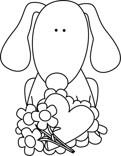 Black and White Valentine's Day Dog