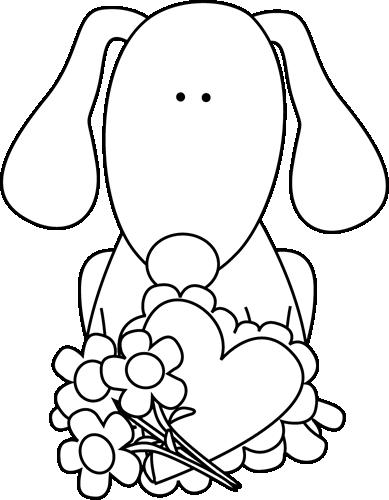 Black and White Valentine's Day Dog