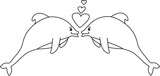 Black and White Valentine's Day Dolphins