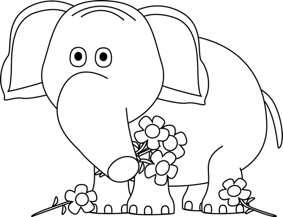 Black and White Valentine's Day Elephant