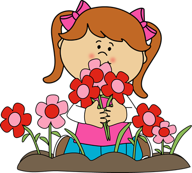 Girl Picking Valentine's Day Flowers Clip Art