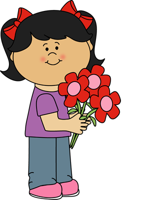 Girl Holding Valentine's Day Flowers Clip Art