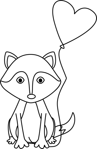Black and White Valentine's Day Fox