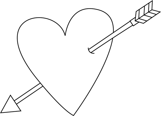 Black and White Valentine's Day Heart and Arrow