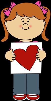 Girl Holding Valentine Card Clip Art