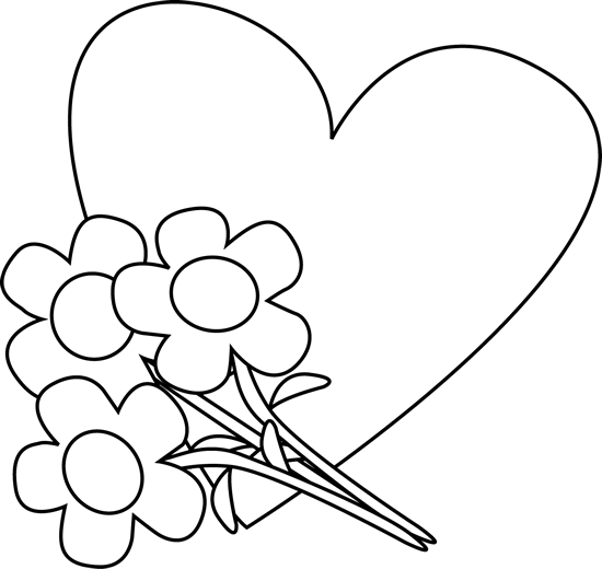 Black and White Valentine's Day Heart and Flowers Clip Art - Black ...