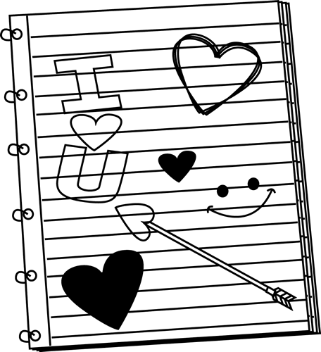 Black and White Valentine's Day Notebook Scribbles