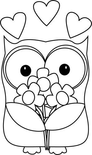 Black and White Valentine's Day Owl