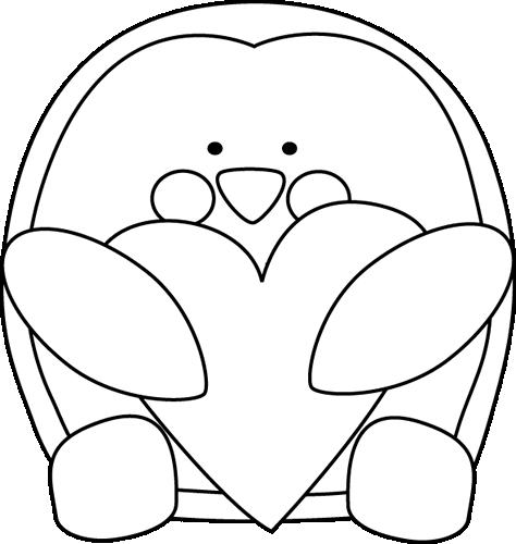 Black and White Valentine's Day Penguin