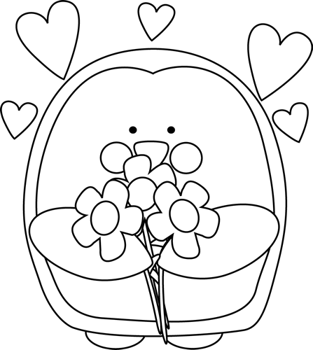 Black and White Valentine's Day Penguin with Flowers