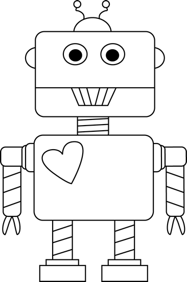 black and white valentine u0026 39 s day robot clip art