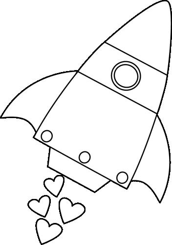 Black and White Valentine's Day Rocket