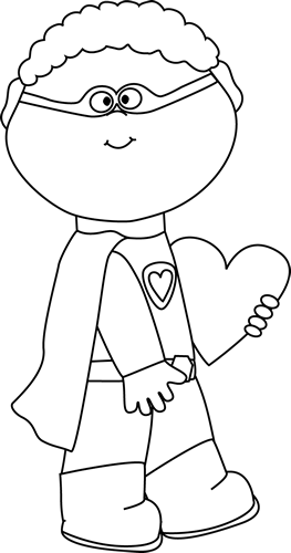 Black and White Valentine Superhero Boy with a Heart