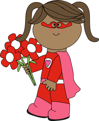 Valentine's Day Superhero Girl with Flowers