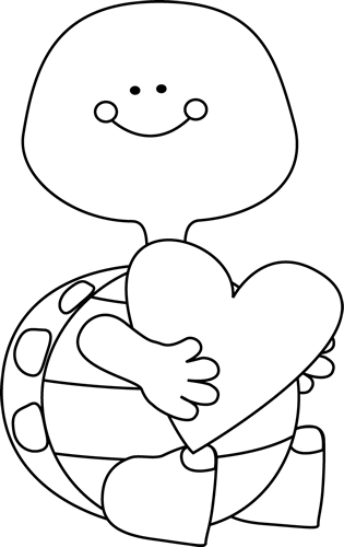 Black and White Valentine's Day Turtle