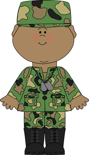 Soldier Clip Art Image - boy in a camoflauge military uniform, wearing ...