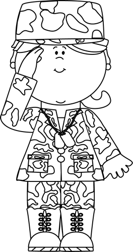 Black white military girl saluting clip art black for Navy sailor coloring pages