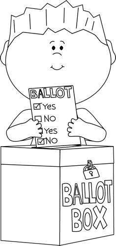 Black and White Boy Putting a Ballot in a Box