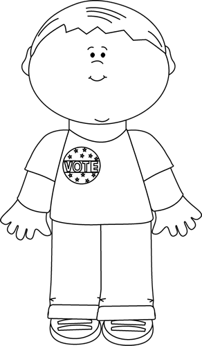 Black and White Boy Wearing a Vote Sticker