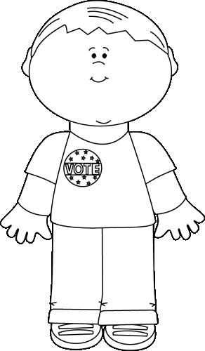 Black and White Boy Wearing a Vote Sticker