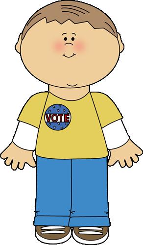 Boy Wearing a Vote Sticker