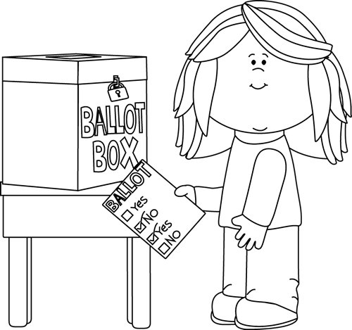 Black and White Girl Putting a Ballot in a Box