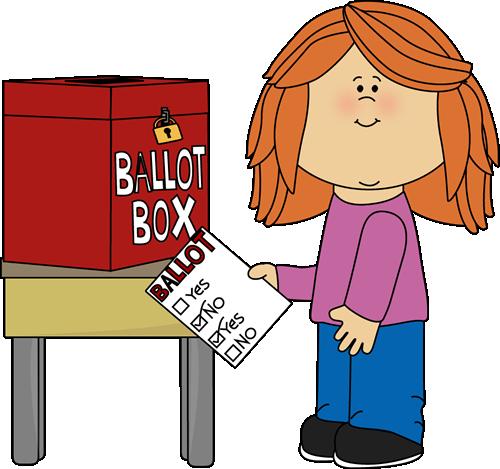 Girl Putting a Ballot in a Box Clip Art - Girl Putting a ...
