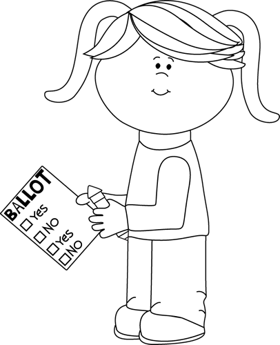 Black and White Girl with Voting Ballot