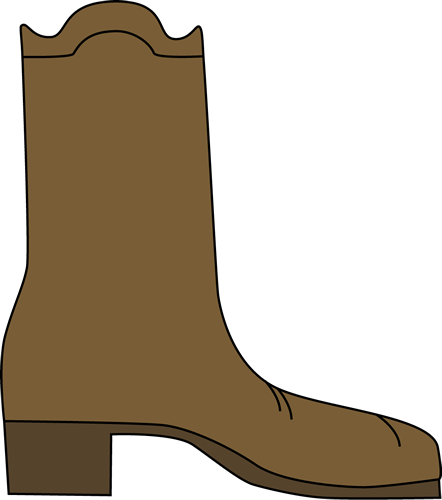 Cowboy Boot Clip Art Image - single brown cowboy boot.
