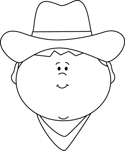 Black and White Cowboy Face