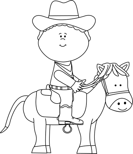 Black and White Cowboy on a Horse Clip Art - Black and ...