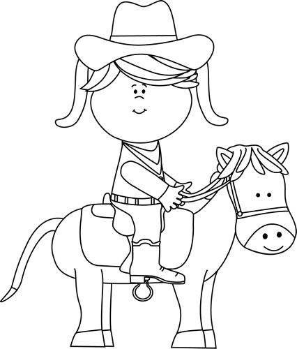 Black and White Cowgirl Riding a Horse