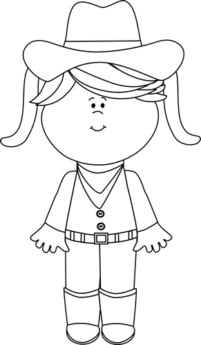 Black and White Cowgirl with Pigtails