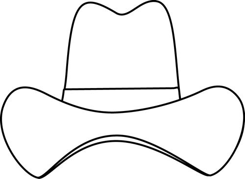 Black And White Simple Cowboy Hat Clip Art
