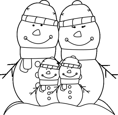 Black And White Snowman Family